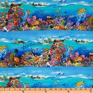 Paradise Coral Reef Aqua   Discount Designer Fabric   Fabric