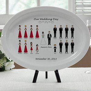 Personalized Wedding Gift Platter   Bridal Party Characters   7264
