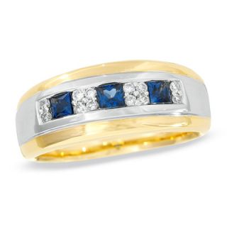 Mens Princess Cut Sapphire and 1/5 CT. T.W. Diamond Band in 14K Two