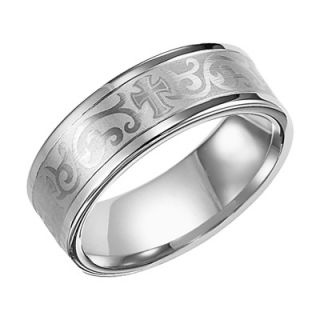 Triton Mens 8.0mm Comfort Fit White Tungsten Scroll Cross Wedding
