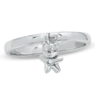 Childs Diamond Accent Teddy Bear Dangle Ring in 10K White Gold   Size