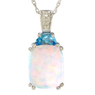 Cushion Cut Opal and Blue Topaz Pendant in 14K White Gold with Diamond
