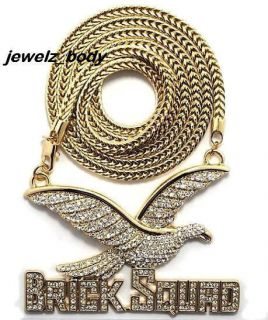 ICED OUT GOLD BRICK SQUAD PENDANT W/36 FRANCO CHAIN