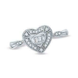 10 CT. T.W. Diamond Milgrain Heart Ring in Sterling Silver   Size 7