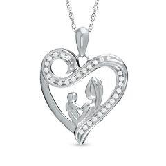 10 CT. T.W. Diamond Motherly Love Swirl Heart Pendant in Sterling