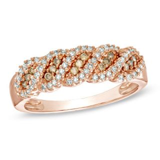 CT. T.W. Champagne and White Diamond Swirl Ring in 10K Rose Gold