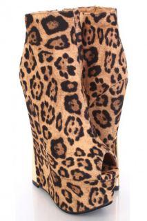 Leopard Faux Suede Peep Toe Ankle Boot Platform Wedges @ Amiclubwear