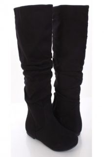 Black Faux Suede Flat Boots @ Amiclubwear Boots Catalogwomens winter