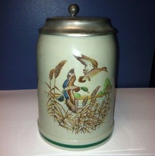 West Germany German Rein Zinn Flying Geese Lidded Beer Stein Mug 0.5L