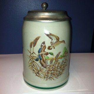 West Germany German Rein Zinn Flying Geese Lidded Beer Stein Mug 0.5L