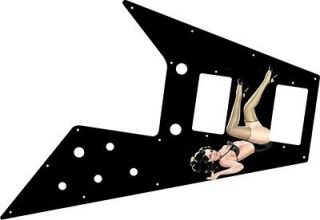 Pickguard for Gibson Flying V Guitar Pin Up Girl Kicking Legs