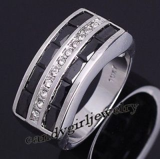 Jewelry Exclusive Mens Black Sapphire 10KT White Gold Filled Ring