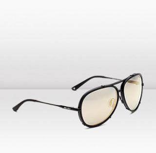 Jimmy Choo  Terrence  Matt black aviator sunglasses with grey shade