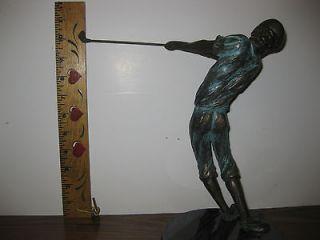 VINTAGE Signed Pin High Golf Bronze Sculpture 1989 TOM BENNETT