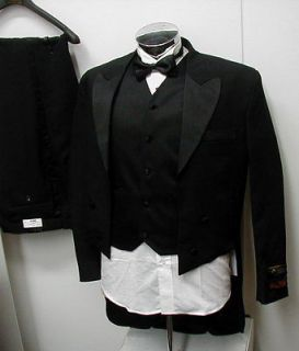 New Mens Black Tuxedo Suit Tails Vest Tux Shirt 46R 46