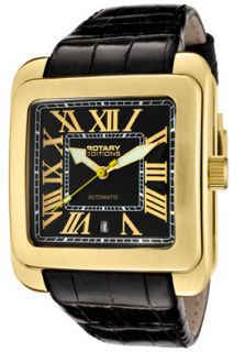 Rotary 704C Watches,Mens Editions Automatic Black Dial Gold Tone