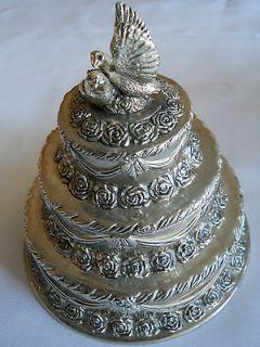Vintage Dove Wedding Cake Topper Jewelry/Trinket Box