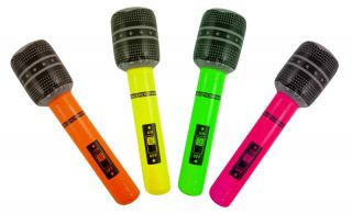BLOW UP INFLATABLE MICROPHONE MIC KARAOKE PARTY FANCY DRESS COSTUME