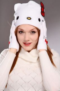Hello Kitty Beanie Big Red Bow Matching Glove Set @ Amiclubwear