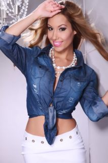 Blue Denim Faded Frayed Chest Pocket Button Shirt Top @ Amiclubwear
