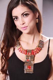 Red Gold High Polish Metal Hollow Beaded Necklace Set @ Amiclubwear