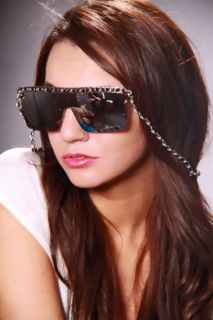 Black Silver Mirrored Lenses Frame Less Chain Necklace Sunglasses