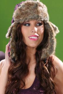 FUCHSIA BLACK TRUCKER GIRLS FAUX FUR TRAPPER HAT @ Amiclubwear Hat