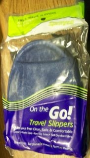 On the Go TRAVEL SLIPPERS FOR MEN   Dark Blue w/ Black Carrying Case