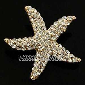 18K Gold Plated Starfish Pin Brooch use Clear Crystals 12184