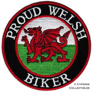 PROUD WELSH BIKER embroidered PATCH WALES FLAG BRITISH iron on UK
