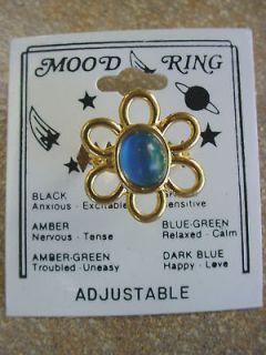 Daisy Flower Mood Ring Vintage 80s Adjustable 18ct Gold Plated USA
