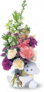 Osito con Rosas Blancas de Teleflora Flores, Arreglo Floral Osito con