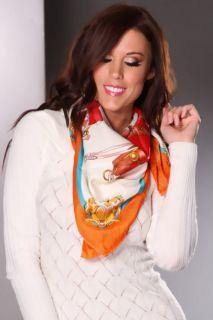 Orange Crest Printed Silk Scarf @ Amiclubwear scarf Online Store
