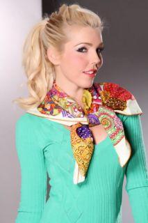 Cream Print Snail Shell Silk Scarf @ Amiclubwear scarf Online Store