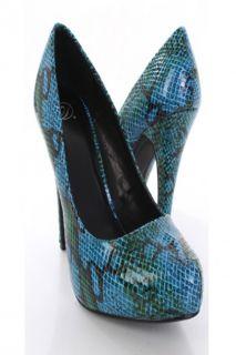 Blue Python Skin Print Closed Toe Pump Heels @ Amiclubwear Heel Shoes