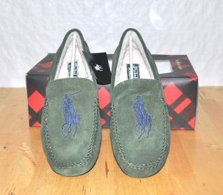 Ralph Lauren Polo Suede Leather Real Fur Mens Slippers Loafers Shoes