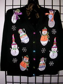 CHRISTMAS SNOWMEN COLLECTABLE ART DESIGN NEW TERAZZO WOMENS SWEATER