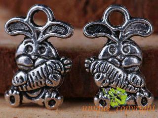 silver bali style cute Rabbit Hare charms Pendants 12*10mm TS460