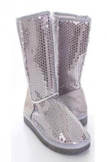 Silver Sequin Casual Flat Boots @ Amiclubwear Boots Catalogwomens