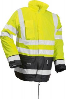 Hi Viz Waterproof Work Jacket Winter Coat Fur Lining High Vis Yellow