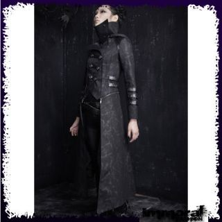 PUNK RAVE ZIP OFF TRENCH COAT   PUNK/GOTHIC/BL​ACK/JACKET   UNISEX