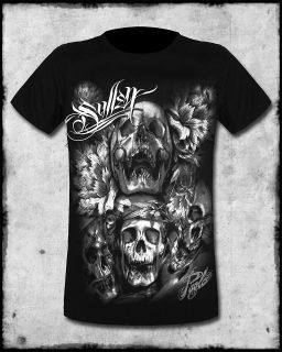 SULLEN CLOTHING DIVINITY MENS BLACK GOTH SKULL TATTOO SHORT SLEEVE TEE