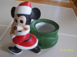 VTG Mickey Mouse Disney Christmas Santa Boot Planter Candy Container