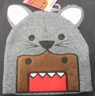 NWT DOMO GRAY KITTY CAT EARS & FACE KUN JAPANESE ANIME KNIT POM BEANIE