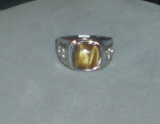 STERLING SILVER PLATED MENS TIGERS EYE RING SIZE   11.5 # 05