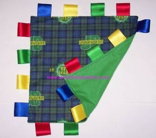 John Deere Green Blue Plaid Ribbon Blanket Blankie Baby