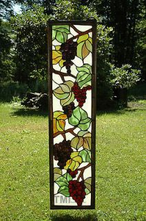 36 Tiffany Style stained glass Jeweled window panel grape vine