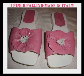 PINCO PALLINO*PINK LEATHER SLIDES*ONE FLOWER DESIGN SANDALS*34*UK 2