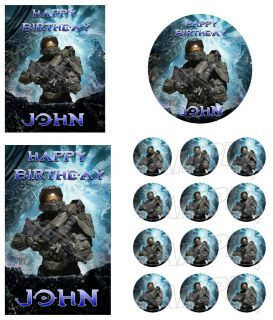 Halo 3 4 Reach Master Chief Personalized Edible Cake Image Topper