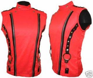 New Mens TRIPP NYC Neon Orange Handcuffs Zip Stud Grufti Punk Vest L